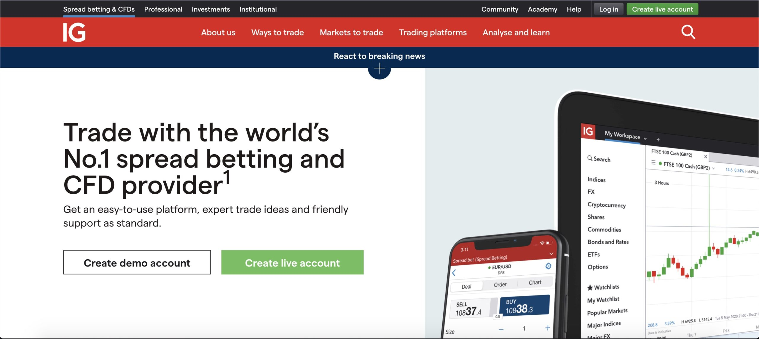 IG trading platform UK home page