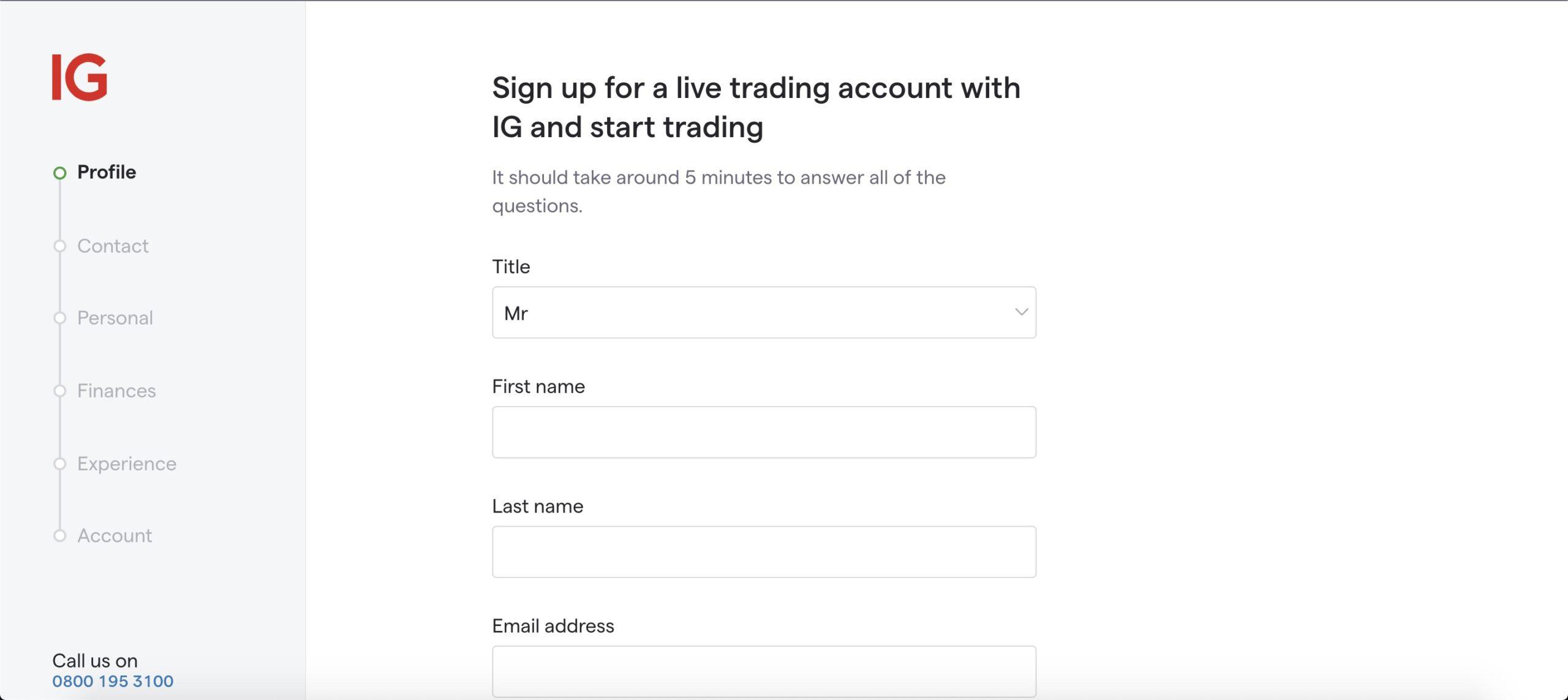IG UK account signup