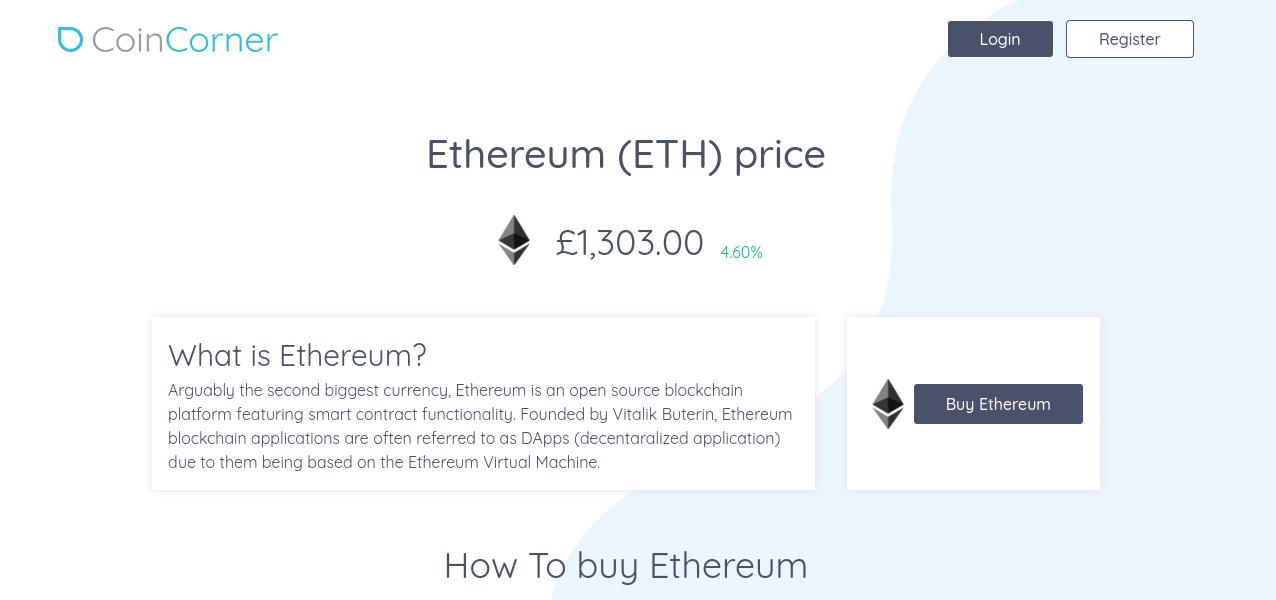 buy Ethereum at Coincorner