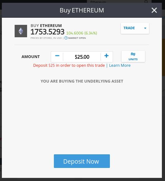 trade ethereum eToro