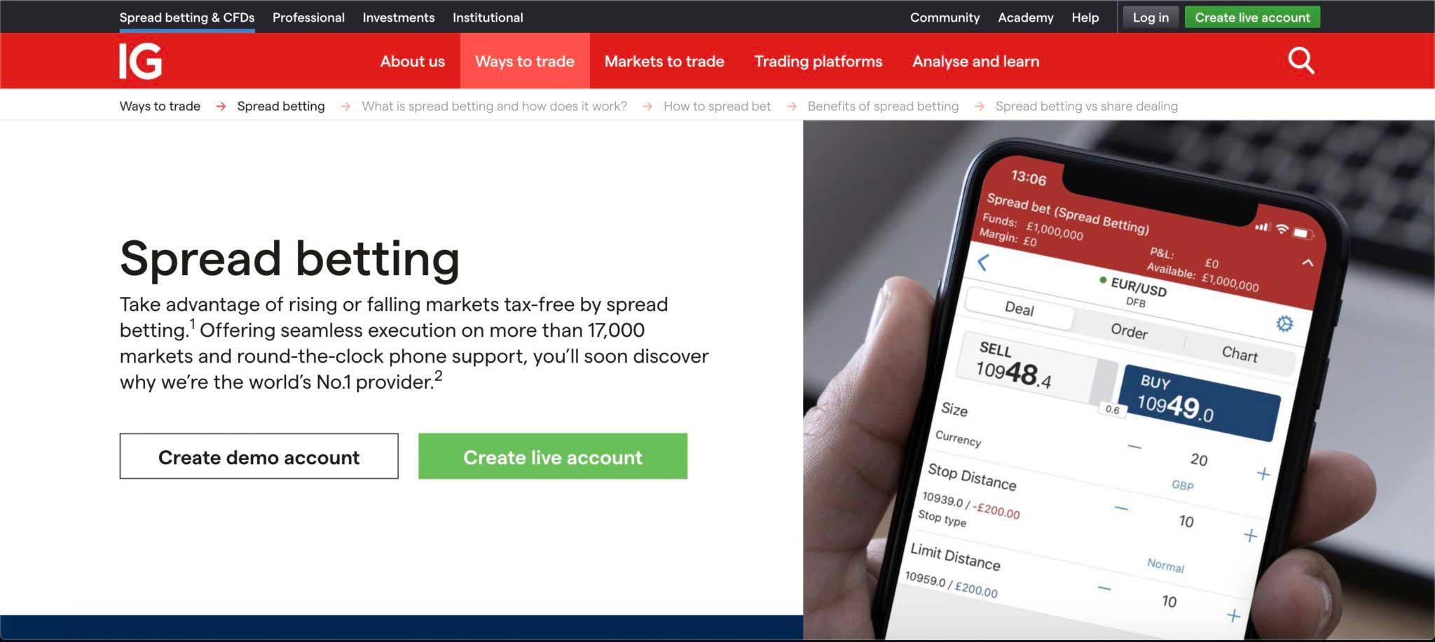 IG UK Spread betting