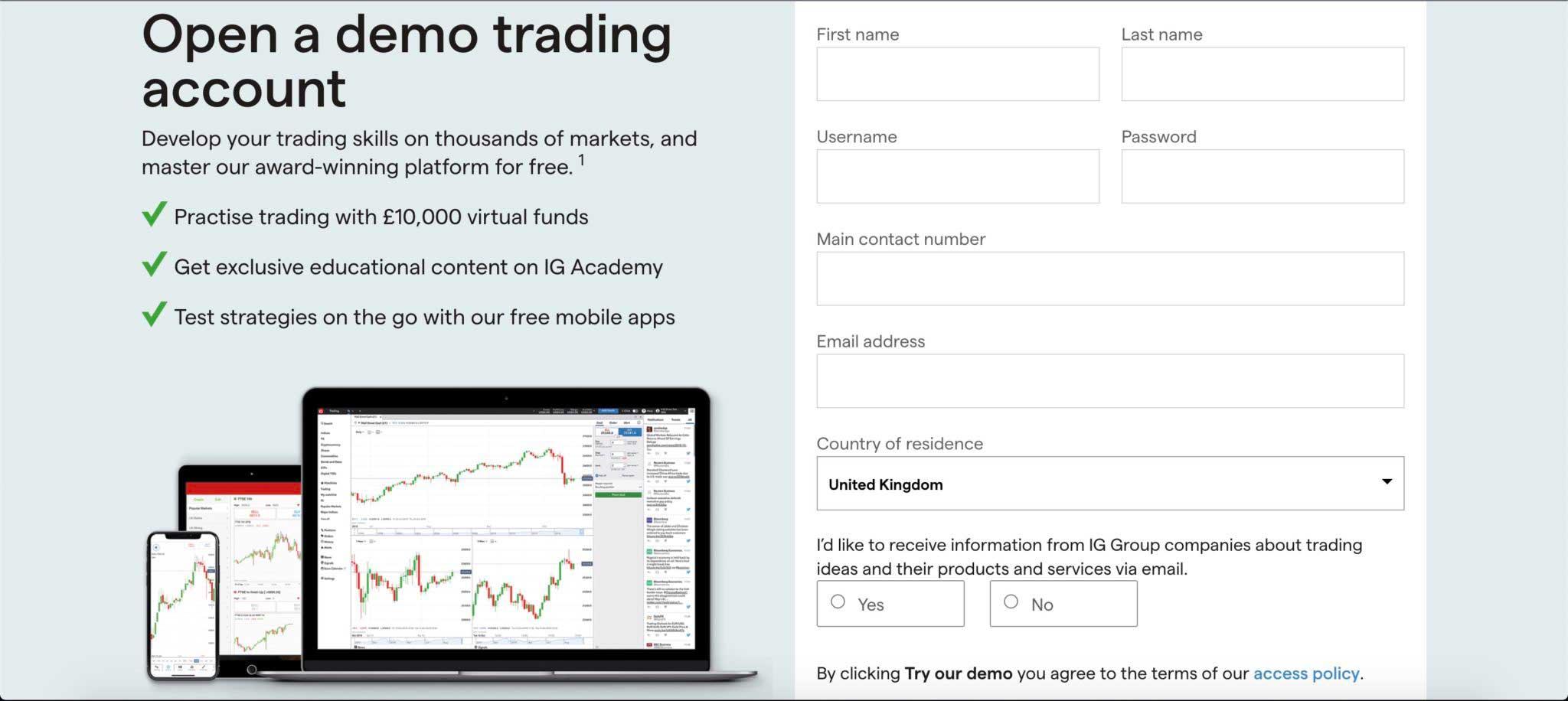 IG trading platform demo account