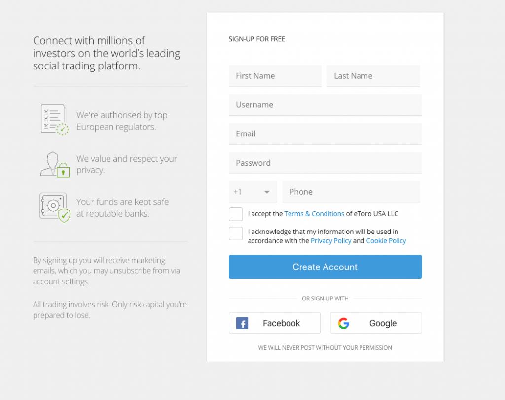 Creating an account on eToro