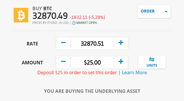 Trading Bitcoin at eToro