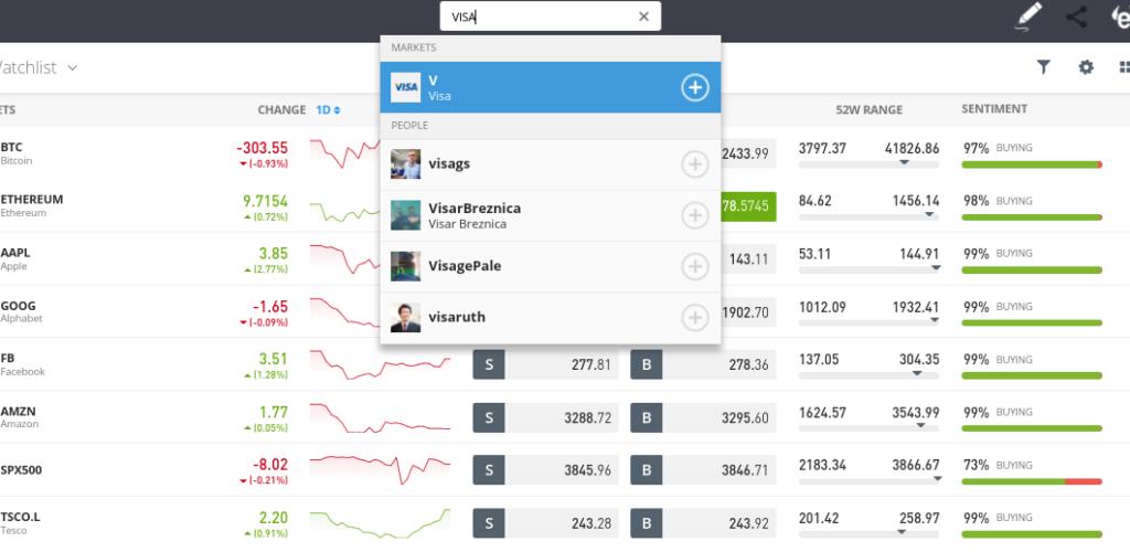 search for stocks on eToro