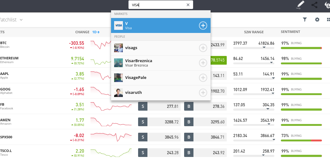 search for stocks on eToro