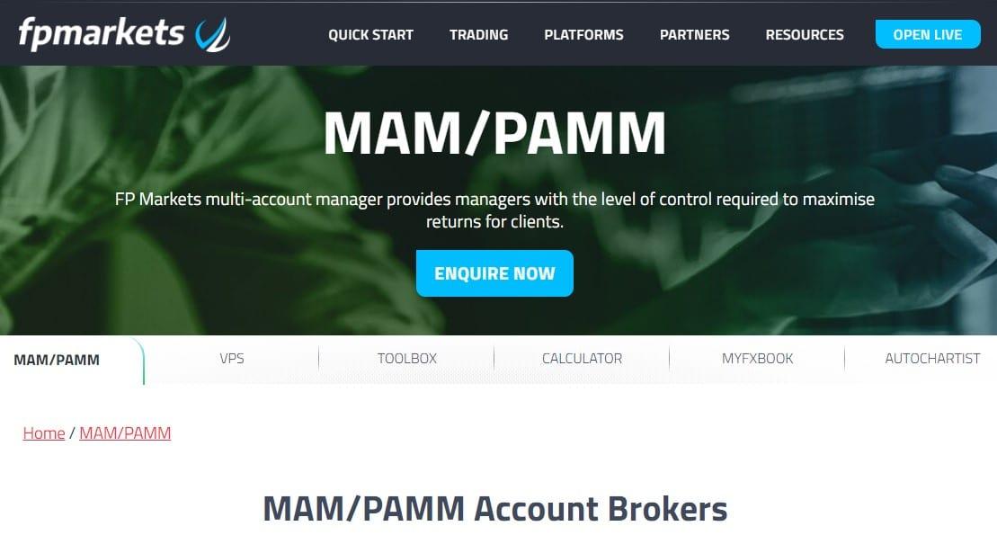 FP Markets MAM PAMM