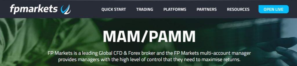 FP Markets PAMM MAM forex account types