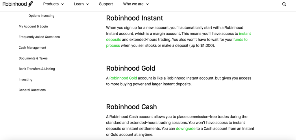 Robinhood account types
