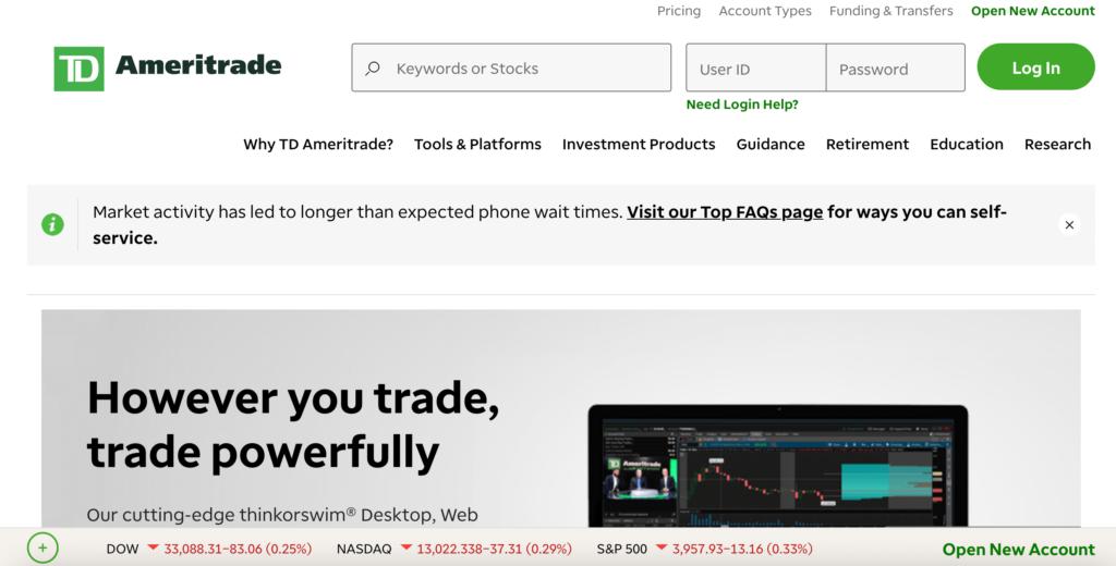 TD Ameritrade homepage