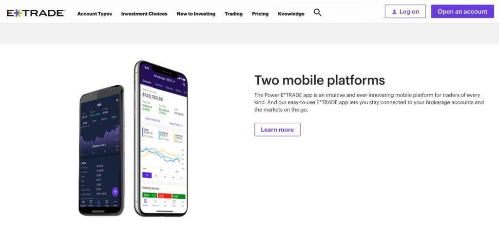 eTrade mobile trading app