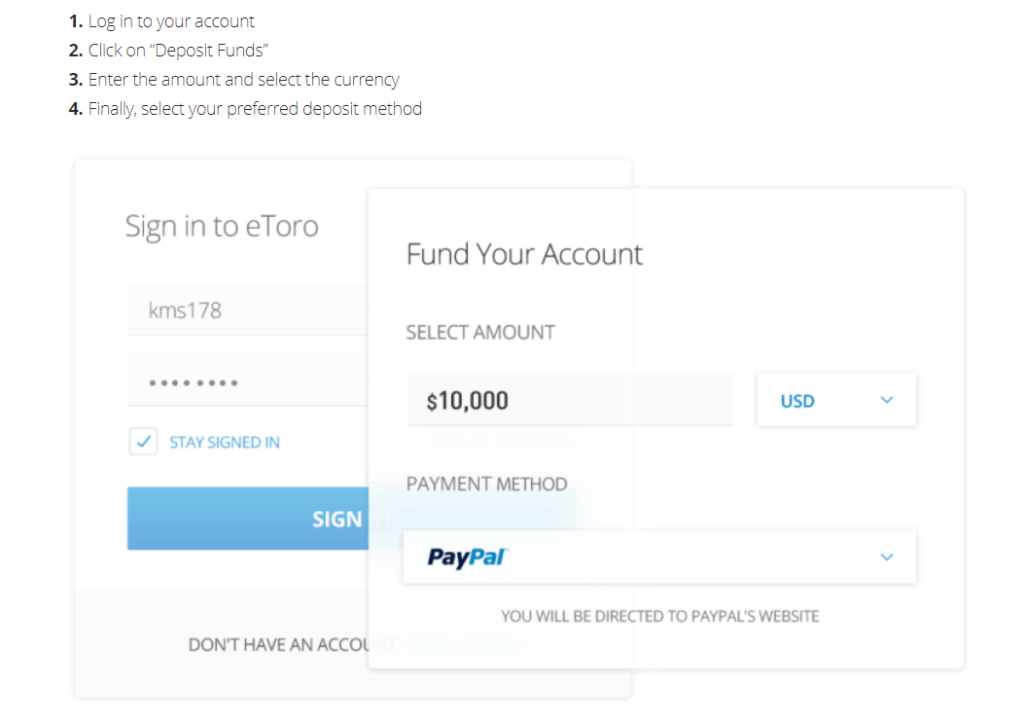 eToro fund account