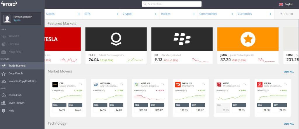 eToro forex account trading platform