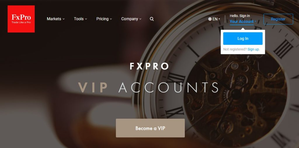 FXPro VIP forex trading account type