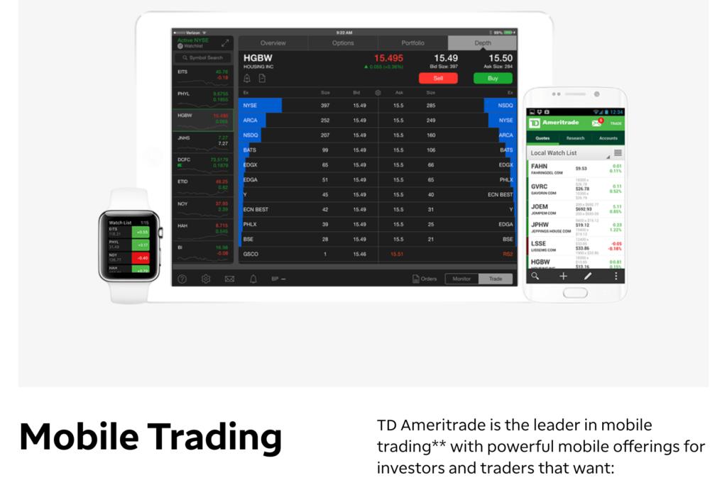 TD Ameritrade mobile trading app