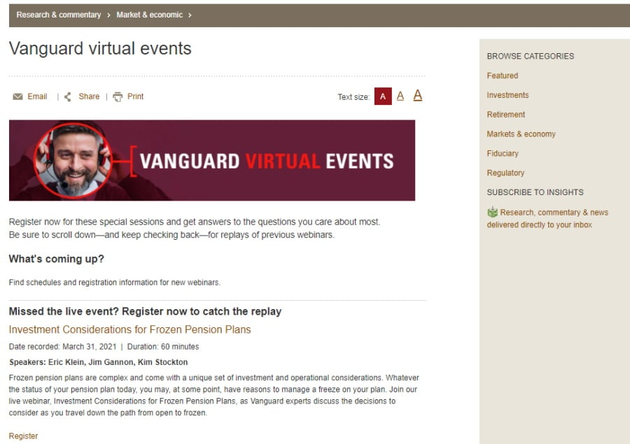 Vanguard webinars