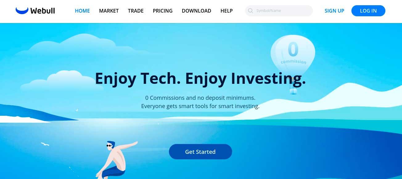 Webull homepage