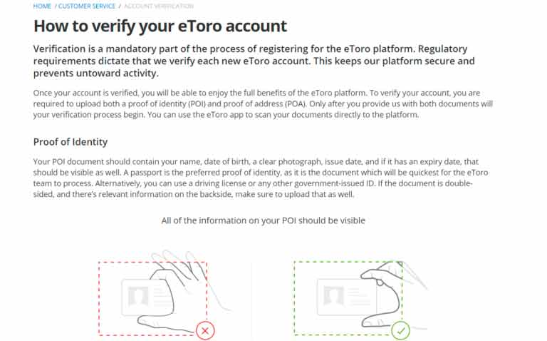 eToro proof of identity