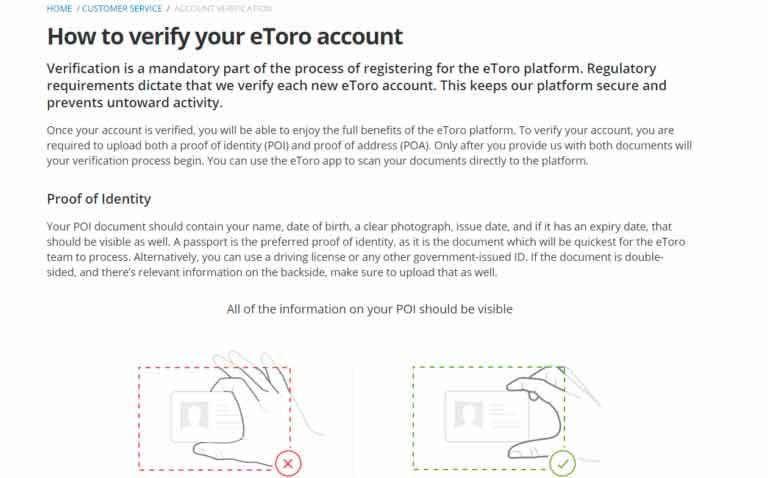 eToro proof of identity