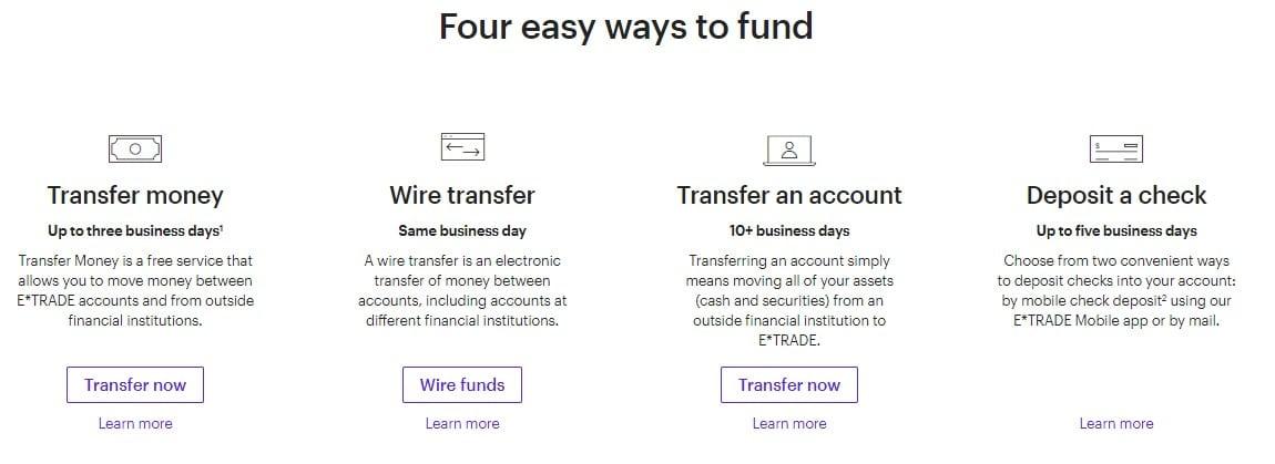 ETRADE account funding