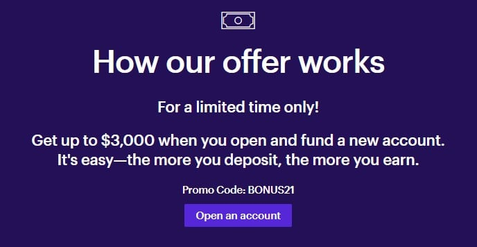 ETRADE funding bonus