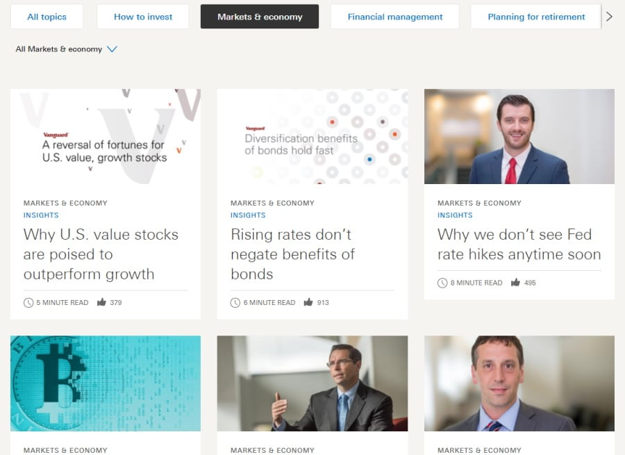 Vanguard's educational resources and market research