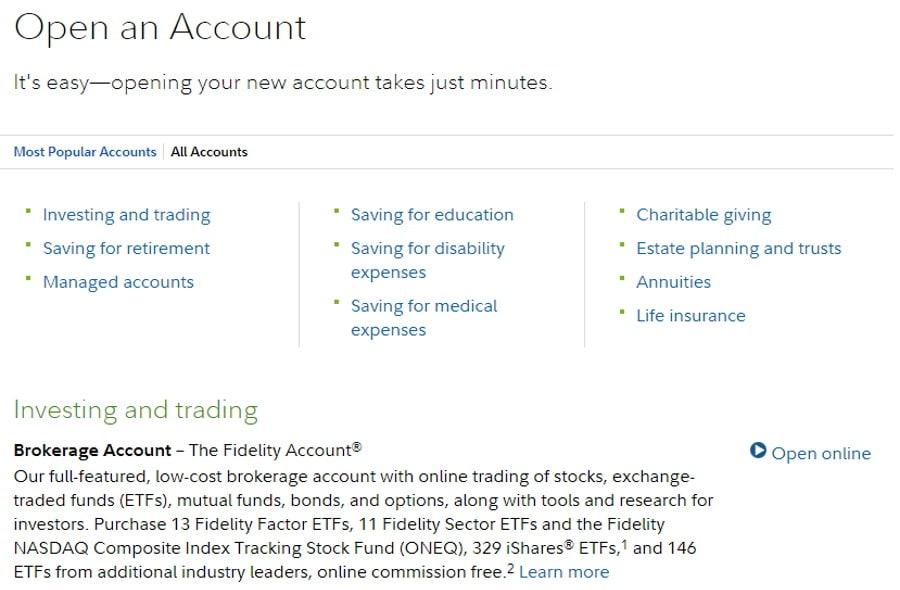 Fidelity account types