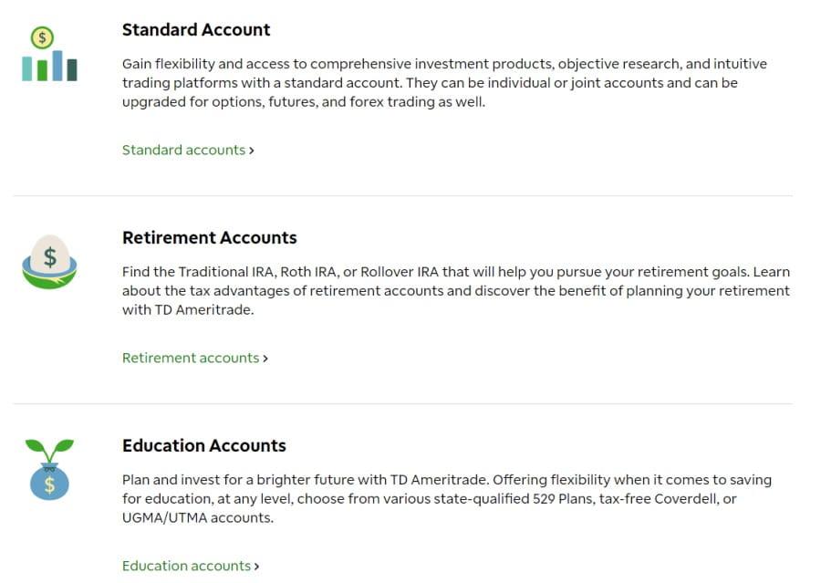 TD Ameritrade accounts