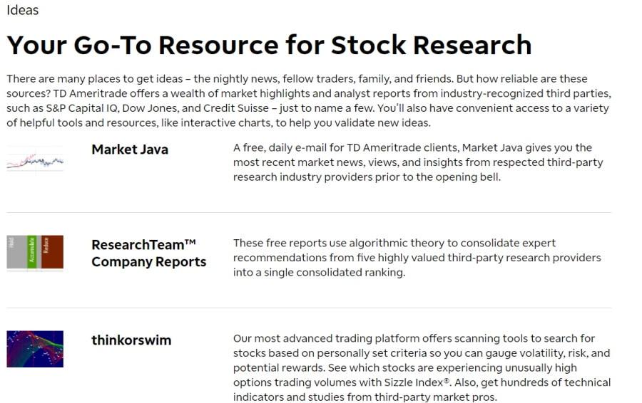 TD Ameritrade trading ideas