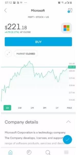 Trading 212 mobile app