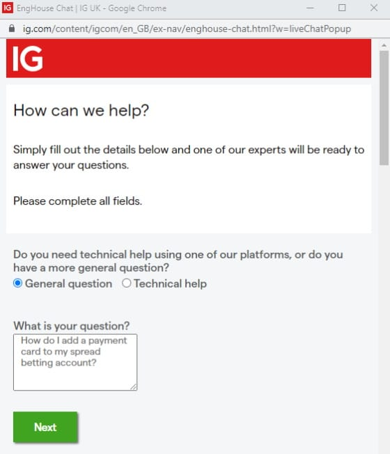 IG customer support live chat