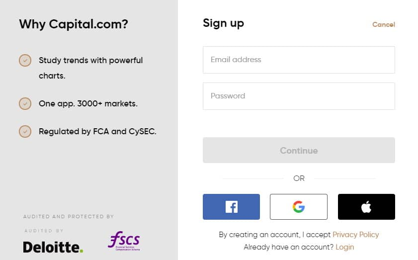 Capital.com opening an account