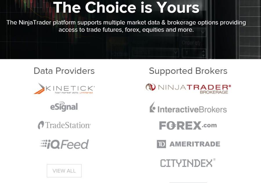 NinjaTrader supported brokers