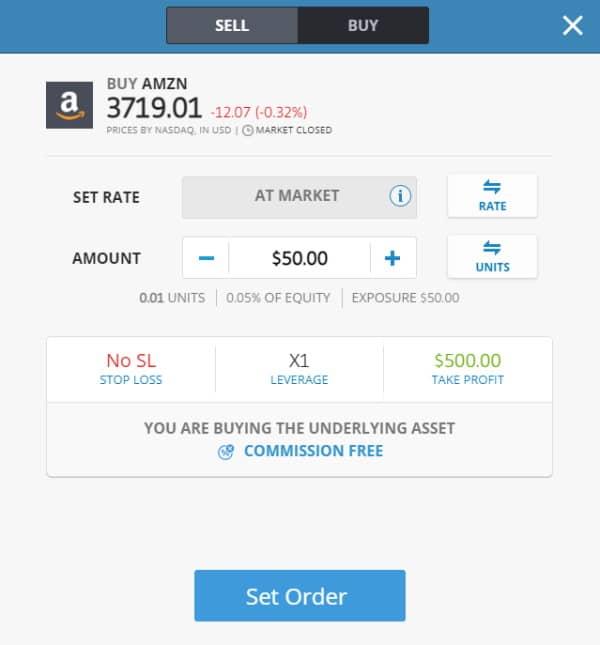 Buy Amazon stock on eToro