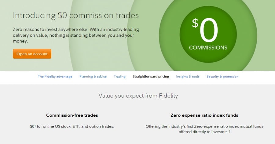 Fidelity fees and commissions