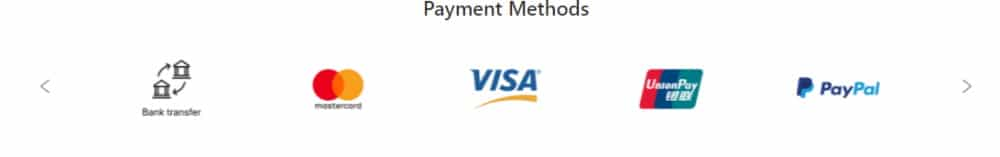 Supported payment methods on ACY Securities