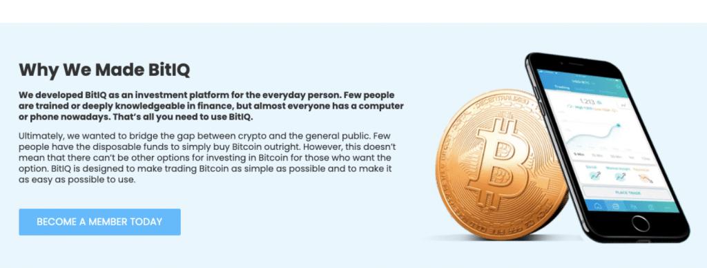 Bitiq app homepage