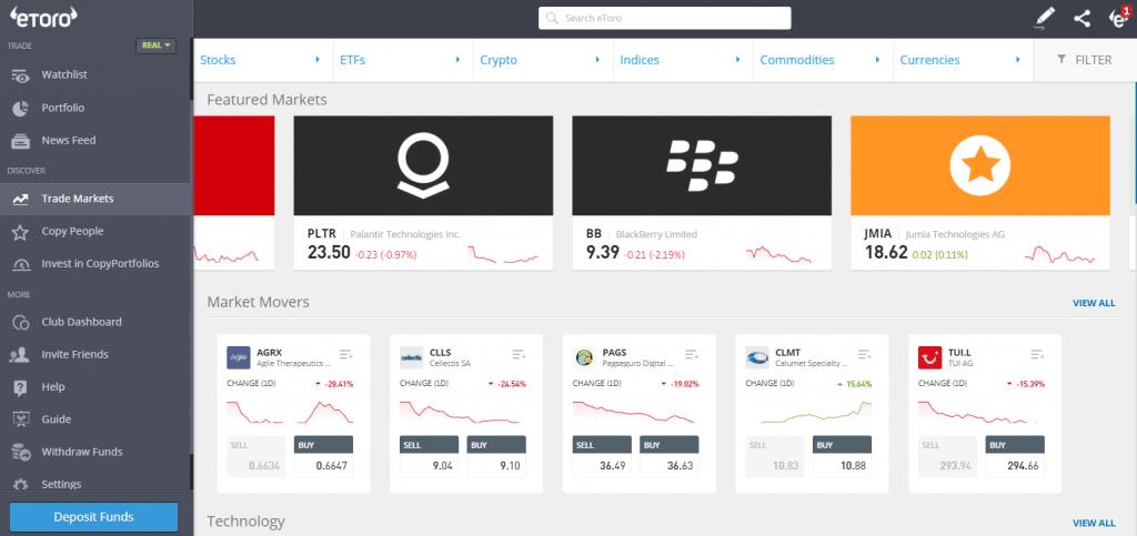 eToro stocks platform
